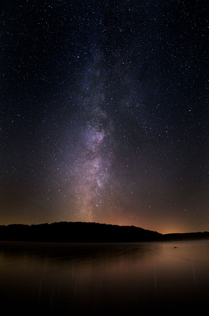 Milky Way reflected in Yellowstone Lake, Wisconsin
